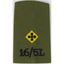 16th/5th Lancers 2nd Lieut - Yellow & Black On Olive Rank Slide  Embroidered Officer rank badge