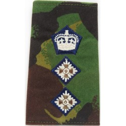 Colonel (Dark-Blue Edged Crown & Pips) On DPM Rank Slide with Queen Elizabeth's Crown. Embroidered Officer rank badge