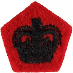 Officer's Rank Crown (Rifles / Gurkhas) Black On Scarlet with Queen Elizabeth's Crown. Embroidered Officer rank badge