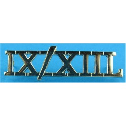 IX/XIIL (9th/12th Royal Lancers (Prince of Wales's)) Spike Fitting  Anodised Army Staybrite shoulder title