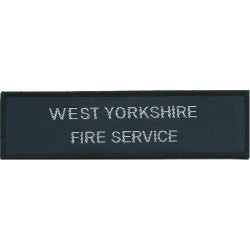 West Yorkshire Fire Service - Chest Badge Words On Rectangle  Woven Fire and Rescue Service insignia