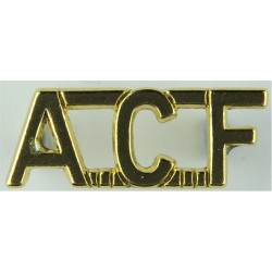 ACF (Army Cadet Force) Gold Colour  Anodised Army Staybrite shoulder title