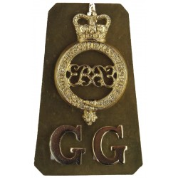Cipher / GG (Grenadier Guards)  with Queen Elizabeth's Crown. Anodised Army Staybrite shoulder title