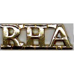 RHA (Royal Horse Artillery) 28mm Wide  Anodised Army Staybrite shoulder title