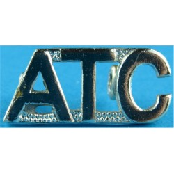 ATC (Air Training Corps - Worn By Warrant Officers) Worn As Collar Badge  Anodised Army Staybrite shoulder title