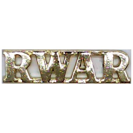 RWAR (Royal Western Australia Regiment) Gold Colour  Anodised Army Staybrite shoulder title