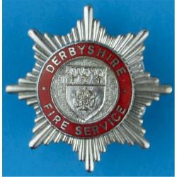Derbyshire Fire Service (Shield Centre) Cap Badge Pre-1983  Chrome and enamelled Fire and Rescue Service insignia