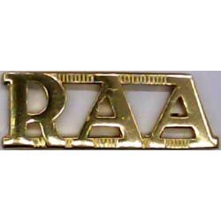 RAA (Royal Australian Artillery)   Anodised Army Staybrite shoulder title
