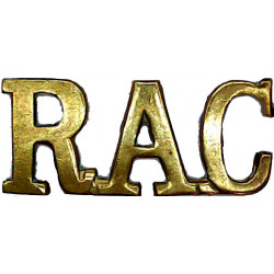 RAC (Royal Armoured Corps) Gap-Top Letters  Brass Army metal shoulder title