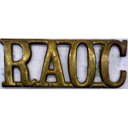 RAOC (Royal Army Ordnance Corps) Large - 18mm High  Brass Army metal shoulder title