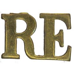 RE (Royal Engineers) - Gap-Top Pattern 17.5mm High  Brass Army metal shoulder title