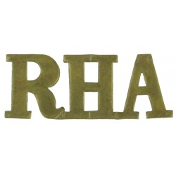 RHA (Royal Horse Artillery) Closed-Top 'H'  Brass Army metal shoulder title