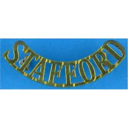 Stafford (Staffordshire Regiment)- Curved - Officers   Brass Army metal shoulder title