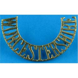 Worcestershire (Worcestershire Regiment) 55mm Wide: 12mm High  Brass Army metal shoulder title
