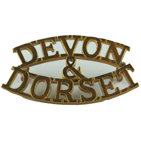 Devon / & / Dorset (Devonshire & Dorset Regiment) Officers' Pattern  Brass Army metal shoulder title