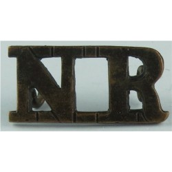 NR (National Reserve) - WW1   Brass Army metal shoulder title