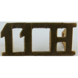 11H (11th Hussars)   Brass Army metal shoulder title