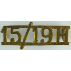 15/19H (15th/19th Hussars) - 35mm Long 1922-1934 - Officers  Brass Army metal shoulder title