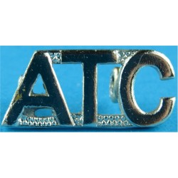 ATC (Air Training Corps - Worn By Warrant Officers) Worn As Collar Badge  Gilt Army metal shoulder title