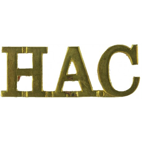 HAC (Honourable Artillery Company) Gap-Topped Letters  Brass Army metal shoulder title