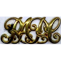 RAPC (Royal Army Pay Corps) - Script Letters 40mm Wide  Brass Army metal shoulder title