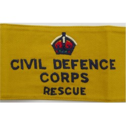 Civil Defence Corps Rescue Armband (Regional Staff) Navy Blue On Yellow with King's Crown. Embroidered Arm-Band or Brassard