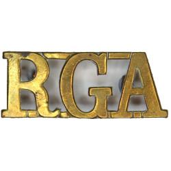 RGA (Royal Garrison Artillery) - 44.5mm Long Connected At Top  Brass Army metal shoulder title