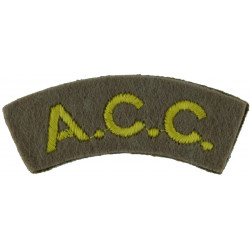 ACC (Army Catering Corps) Yellow On Grey  Embroidered Sew-on Army cloth shoulder title