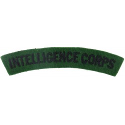Intelligence Corps Black On Green  Embroidered Sew-on Army cloth shoulder title