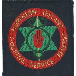 Northern Ireland Hospital Service Reserve On Black Square  Woven Ambulance Insignia
