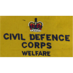Civil Defence Corps Welfare Armband (Regional Staff) Navy Blue On Yellow with King's Crown. Embroidered Arm-Band or Brassard