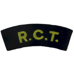 RCT (Royal Corps Of Transport) Yellow On Blue  Embroidered Sew-on Army cloth shoulder title
