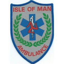 Isle Of Man Ambulance Shield Arm Badge  Woven Ambulance Insignia