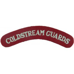 Coldstream Guards - Current Pattern White On Red  Embroidered Sew-on Army cloth shoulder title