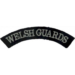 Welsh Guards White On Navy Blue  Embroidered Sew-on Army cloth shoulder title