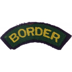 Border (Yellow On Green With Purple Edging)   Embroidered Sew-on Army cloth shoulder title