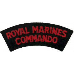 Royal Marines / Commando - Red On Black Curved  Embroidered Sew-on Army cloth shoulder title