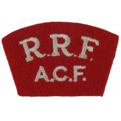 RRF / ACF White On Red  Embroidered Sew-on Army cloth shoulder title