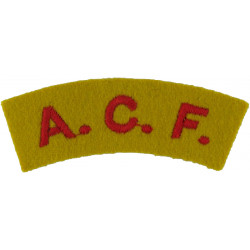ACF (Army Cadet Force) Red On Yellow  Embroidered Sew-on Army cloth shoulder title