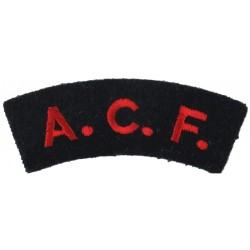 ACF (Army Cadet Force)  (Royal Artillery Units) Red On Navy Blue  Embroidered Sew-on Army cloth shoulder title