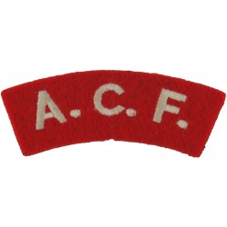ACF (Army Cadet Force) White On Red  Embroidered Sew-on Army cloth shoulder title