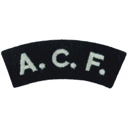 King Williams College / CCF (Isle Of Man) Yellow On Black Embroidered Sew-on Army cloth shoulder title