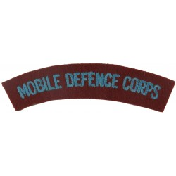 Mobile Defence Corps (1955-59) Sky Blue On Red  Embroidered Sew-on Army cloth shoulder title