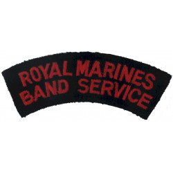 Royal Marines / Band Service Red On Black  Embroidered Sew-on Army cloth shoulder title