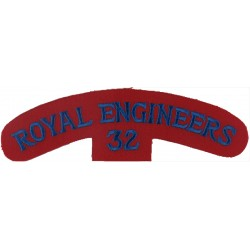Royal Engineers / 32 (32 Armoured Engineer Regiment) Blue On Red  Embroidered Sew-on Army cloth shoulder title