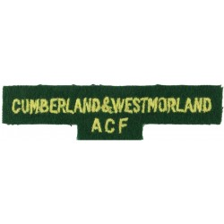 Cumberland & Westmorland / ACF Yellow On Green  Embroidered Sew-on Army cloth shoulder title
