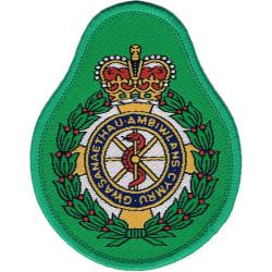 Gwasanaethau Ambiwlans Cymru-Welsh Ambulance Service Crest On Light Green with Queen Elizabeth's Crown. Woven Ambulance Insignia