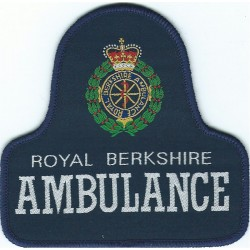 Royal Berkshire Ambulance Pullover Badge On Blue Bell Shape + Crest with Queen Elizabeth's Crown. Woven Ambulance Insignia
