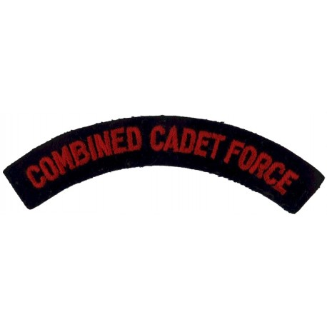 Combined Cadet Force Red On Navy Blue  Embroidered Sew-on Army cloth shoulder title