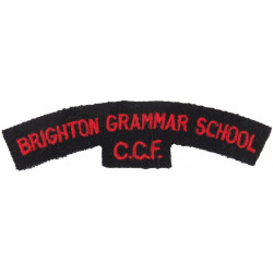 Brighton Grammar School / CCF Red On Black  Embroidered Sew-on Army cloth shoulder title